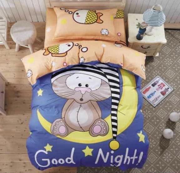 """Постельное бельё для детей сатин """"Good night"""" полуторный, наволочки 50х70"""