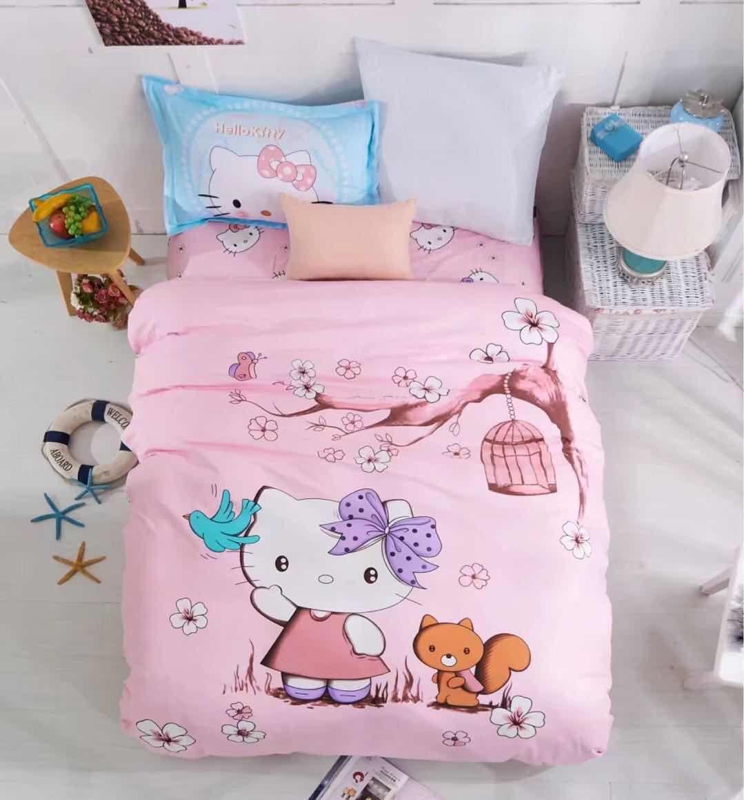 """Постельное бельё для детей сатин """"Hello Kitty"""" полуторный"""
