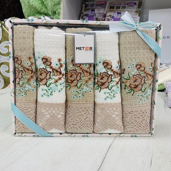 Подарочный набор полотенец-салфеток для кухни 6 в 1 вафелька